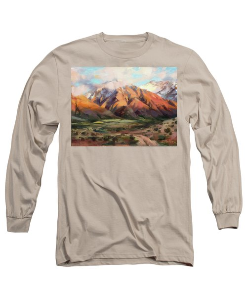 Long Sleeve T-Shirt featuring the painting Mt Nebo Range by Steve Henderson