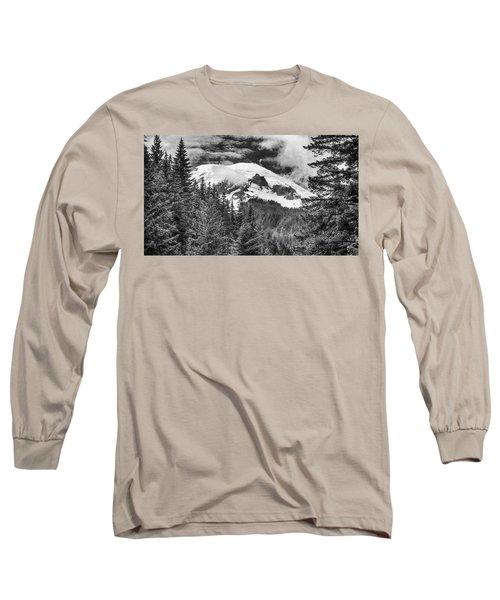 Long Sleeve T-Shirt featuring the photograph Mt Rainier View - Bw by Stephen Stookey