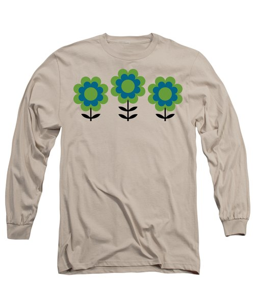 Mug Design With Happy Flowers Blue And Green Long Sleeve T-Shirt