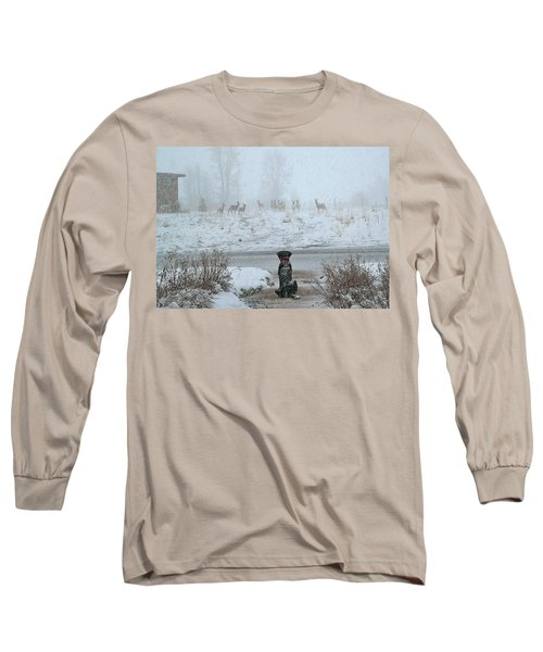 Murphy Watches The Deer Long Sleeve T-Shirt by Eric Tressler