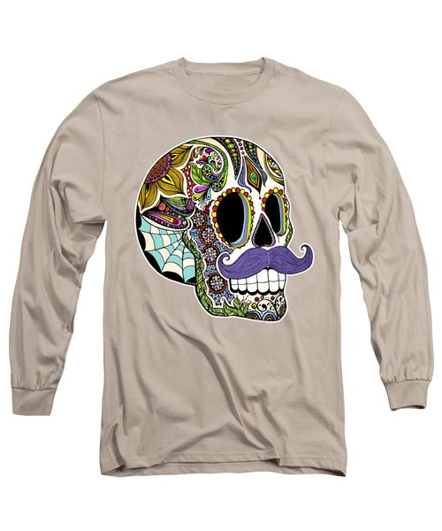 Mustache Sugar Skull Vintage Style Long Sleeve T-Shirt by Tammy Wetzel