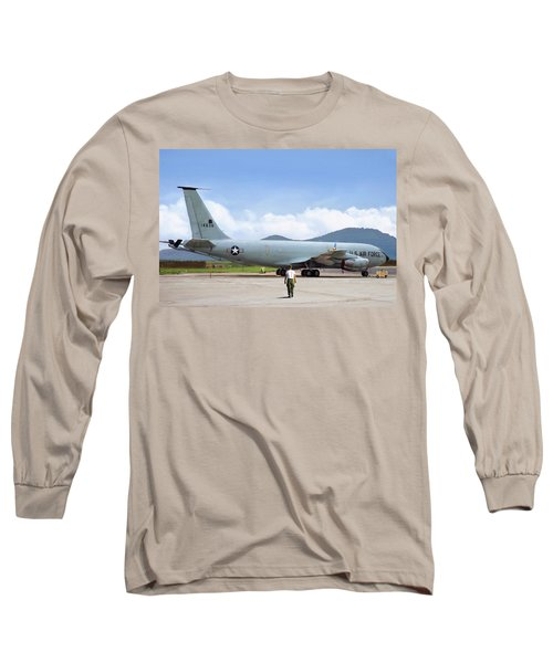 Long Sleeve T-Shirt featuring the digital art My Baby Kc-135 by Peter Chilelli