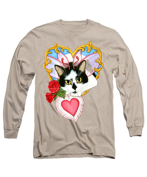 Long Sleeve T-Shirt featuring the painting My Feline Valentine Tuxedo Cat by Carrie Hawks