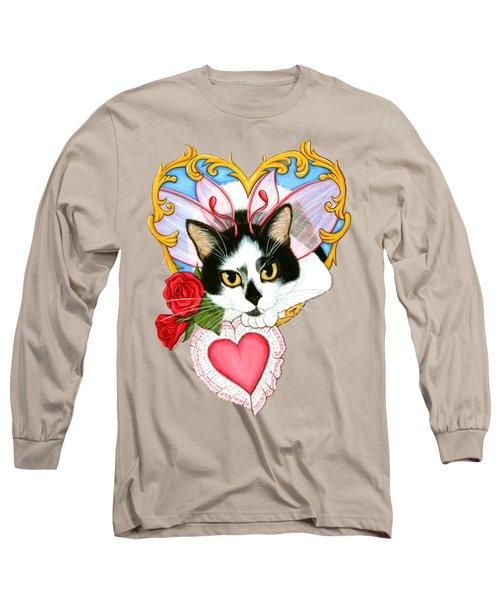 My Feline Valentine Tuxedo Cat Long Sleeve T-Shirt