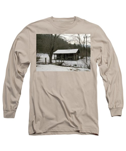 My Lil Cabin Home On The Hill In Winter Long Sleeve T-Shirt