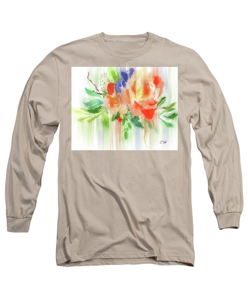 Long Sleeve T-Shirt featuring the painting My Roses Gently Weep by Colleen Taylor
