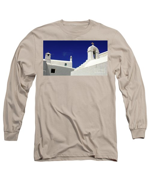 Long Sleeve T-Shirt featuring the photograph Mykonos Greece Architectual Line 5 by Bob Christopher