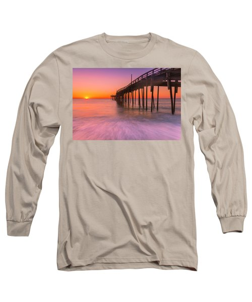 Nags Head Avon Fishing Pier At Sunrise Long Sleeve T-Shirt by Ranjay Mitra