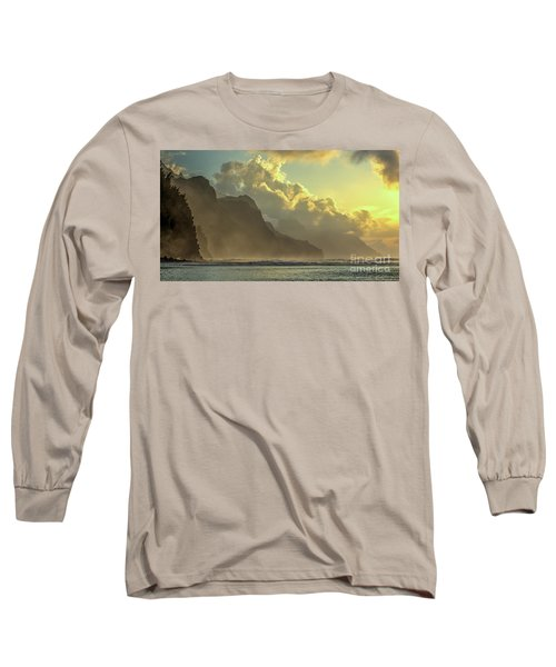 Napali Coast Kauai Hawaii Dramatic Sunset Long Sleeve T-Shirt