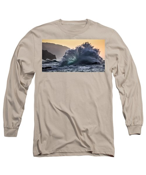 Napali Coast Kauai Wave Explosion Hawaii Long Sleeve T-Shirt