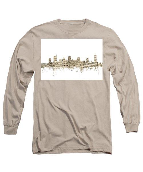 Nashville Tennessee Skyline Sheet Music Long Sleeve T-Shirt