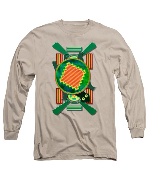 Native American 3d Turtle Motif Long Sleeve T-Shirt by Sharon and Renee Lozen