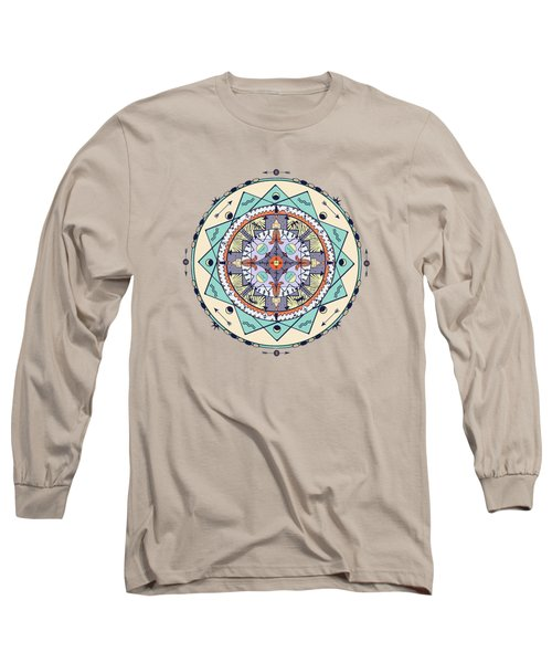 Native Symbols Mandala Long Sleeve T-Shirt by Deborah Smith