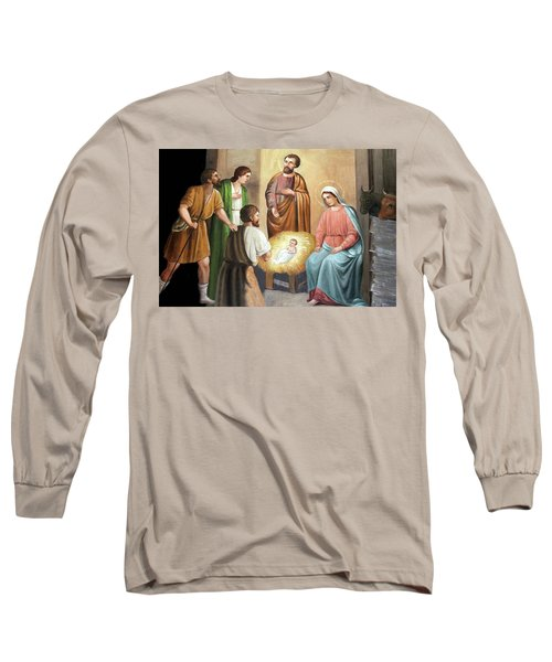 Nativity Scene Painting At Nativity Church Long Sleeve T-Shirt by Munir Alawi