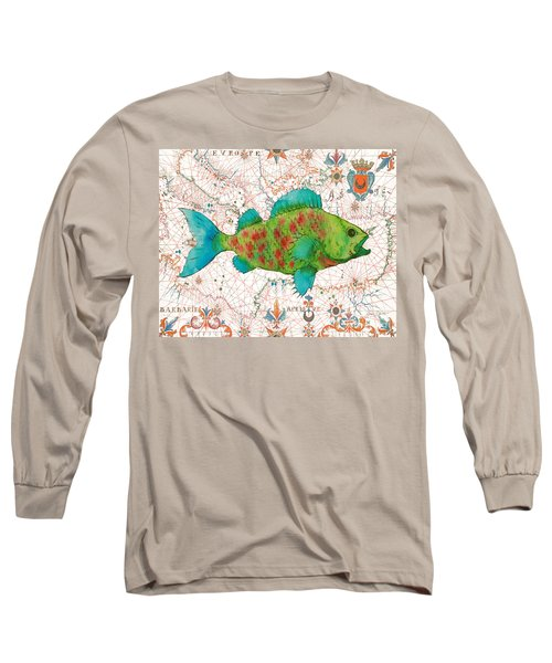 Long Sleeve T-Shirt featuring the painting Nautical Treasures-a by Jean Plout