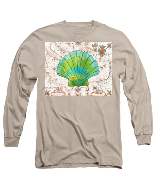 Long Sleeve T-Shirt featuring the painting Nautical Treasures-b by Jean Plout