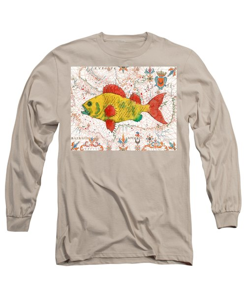 Long Sleeve T-Shirt featuring the painting Nautical Treasures-c by Jean Plout