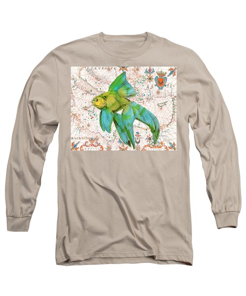 Long Sleeve T-Shirt featuring the painting Nautical Treasures-e by Jean Plout