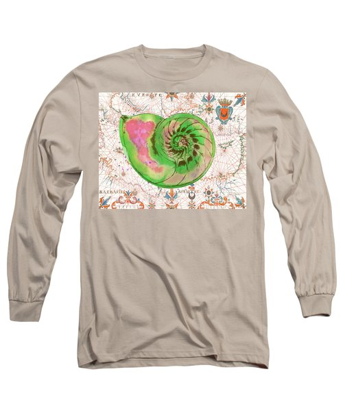 Long Sleeve T-Shirt featuring the painting Nautical Treasures-o by Jean Plout