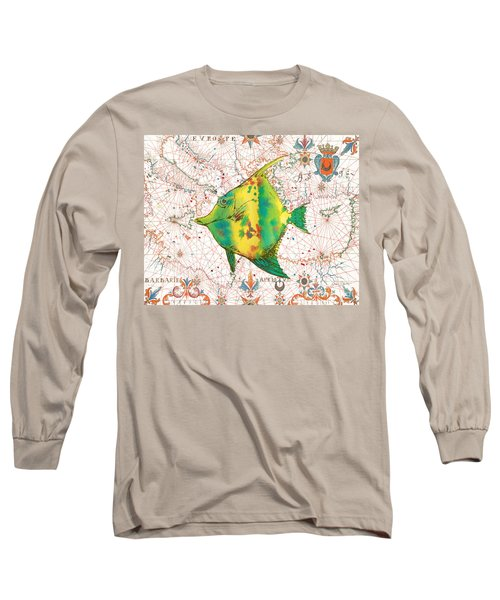 Long Sleeve T-Shirt featuring the painting Nautical Treasures-p by Jean Plout