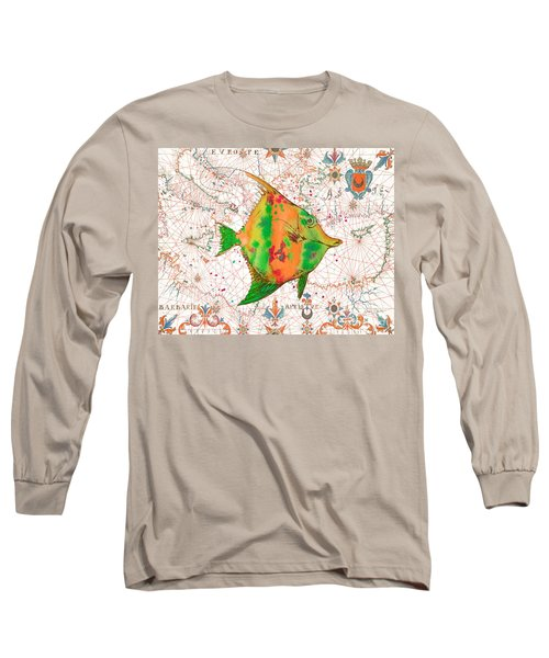 Long Sleeve T-Shirt featuring the painting Nautical Treasures-q by Jean Plout