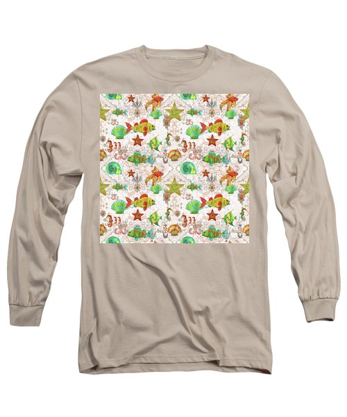 Long Sleeve T-Shirt featuring the painting Nautical Treasures-r by Jean Plout