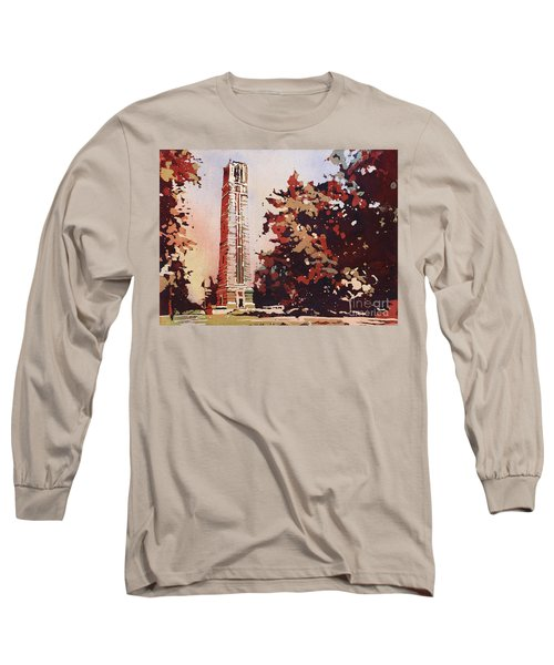 Long Sleeve T-Shirt featuring the painting Ncsu Bell-tower II by Ryan Fox