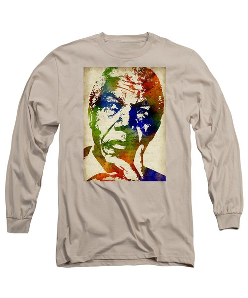 Nelson Mandela Watercolor Long Sleeve T-Shirt by Mihaela Pater