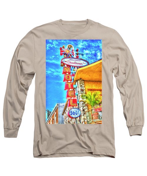 Neon Motel Sign Long Sleeve T-Shirt by Jim And Emily Bush