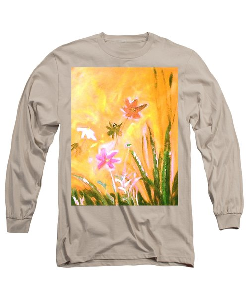 Long Sleeve T-Shirt featuring the painting New Daisies by Winsome Gunning