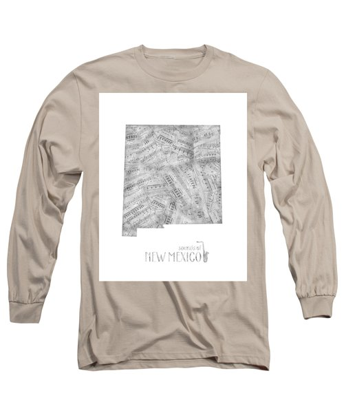 New Mexico Map Music Notes Long Sleeve T-Shirt
