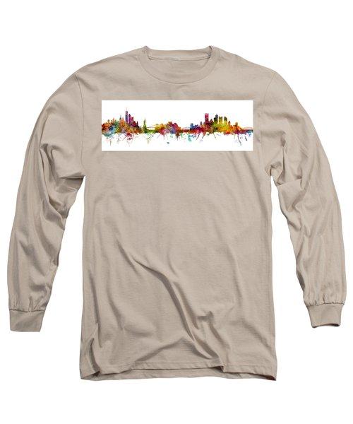 New York And Pittsburgh Skyline Mashup Long Sleeve T-Shirt