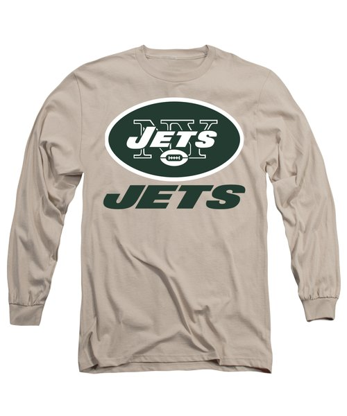 New York Jets On An Abraded Steel Texture Long Sleeve T-Shirt