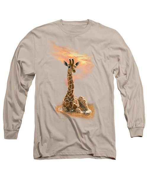Newborn Giraffe Long Sleeve T-Shirt by Lucie Bilodeau