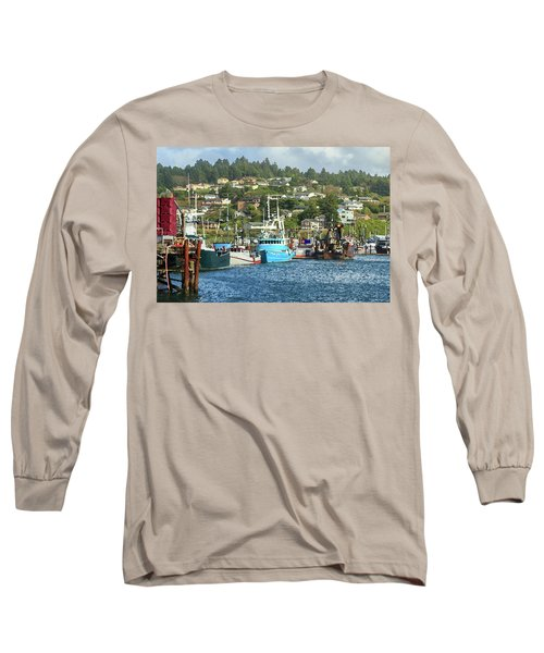 Long Sleeve T-Shirt featuring the digital art Newport Harbor by James Eddy