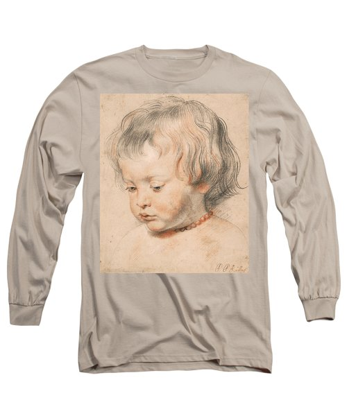 Nicolaas Rubens Wearing A Coral Neckless Long Sleeve T-Shirt