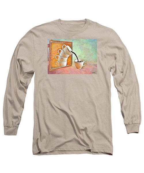 Long Sleeve T-Shirt featuring the painting Night At The Art Gallery - Instant Coffee by Wayne Pascall