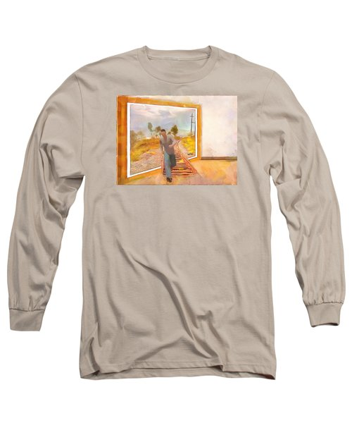 Long Sleeve T-Shirt featuring the painting Night At The Art Gallery - Railway To Freedom by Wayne Pascall