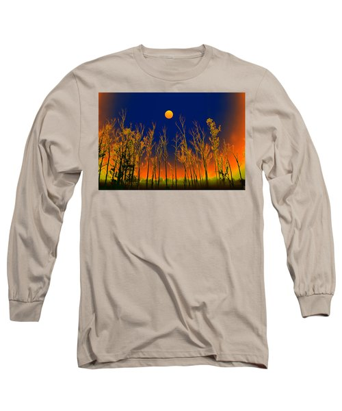 Long Sleeve T-Shirt featuring the digital art Night Rainbow Colors by Bliss Of Art