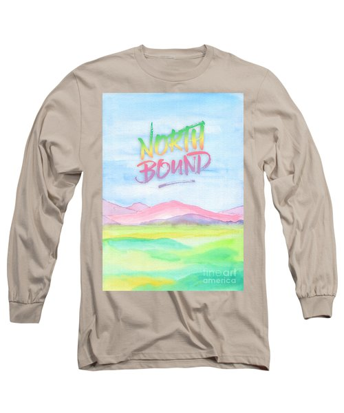 North Bound Pink Purple Mountains Watercolor Painting Long Sleeve T-Shirt
