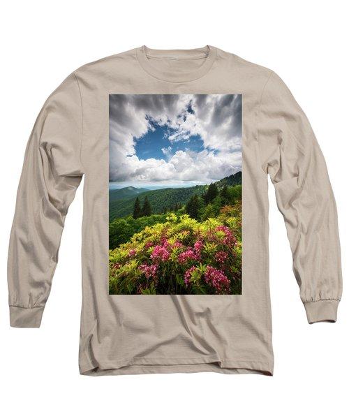North Carolina Appalachian Mountains Spring Flowers Scenic Landscape Long Sleeve T-Shirt