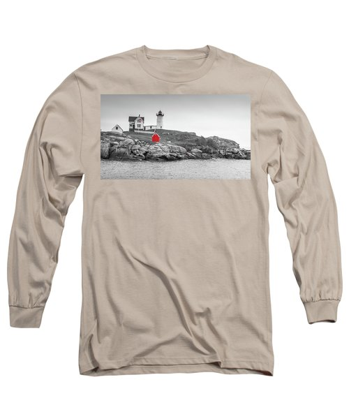 Nubble Lighthouse In Color And Black And White Long Sleeve T-Shirt