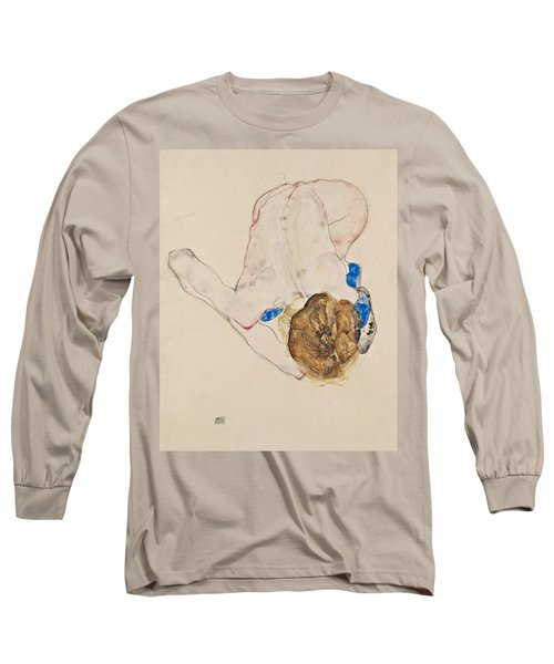 Nude With Blue Stockings, Bending Forward Long Sleeve T-Shirt