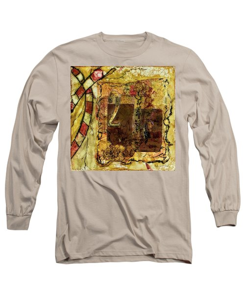 Long Sleeve T-Shirt featuring the mixed media Number 2 Encaustic Collage by Bellesouth Studio