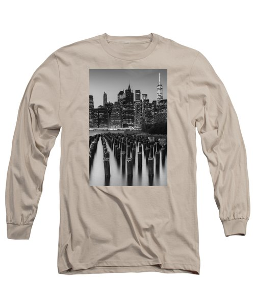 Long Sleeve T-Shirt featuring the photograph Nyc Skyline Bw by Laura Fasulo