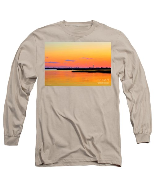 Oak Island Lighthouse Sunset Long Sleeve T-Shirt
