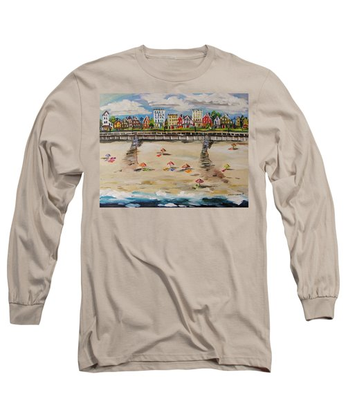 Long Sleeve T-Shirt featuring the painting Ocean Ave By John Williams by John Williams