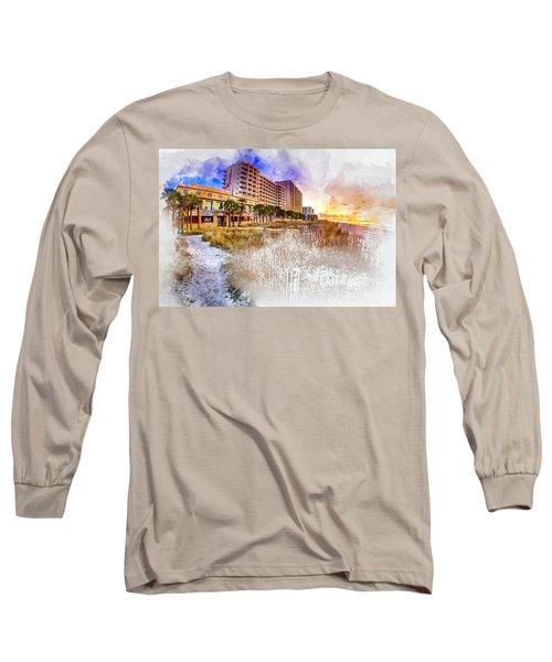 Ocean Drive Sunrise Watercolor Long Sleeve T-Shirt