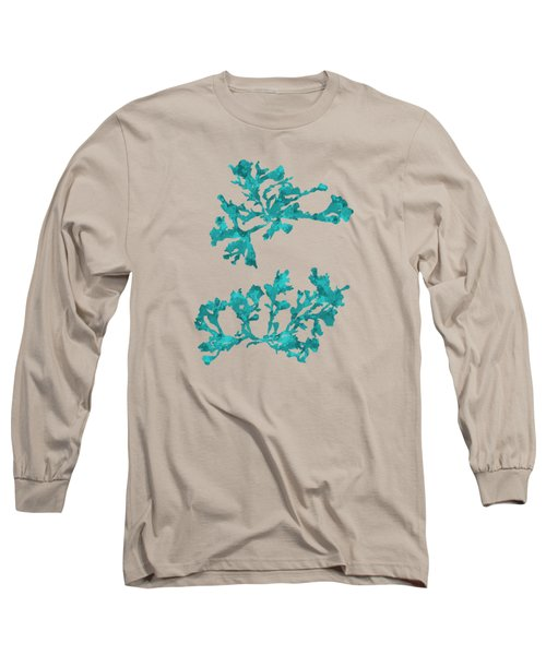 Long Sleeve T-Shirt featuring the mixed media Ocean Seaweed Plant Art Phyllophora Rubens by Christina Rollo
