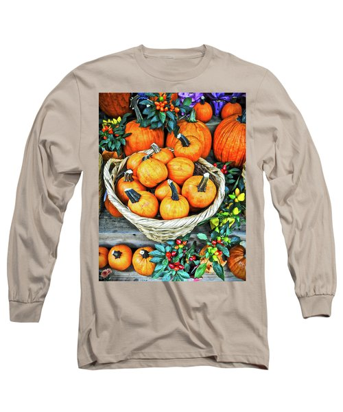 Long Sleeve T-Shirt featuring the photograph October Pumpkins by Joan Reese